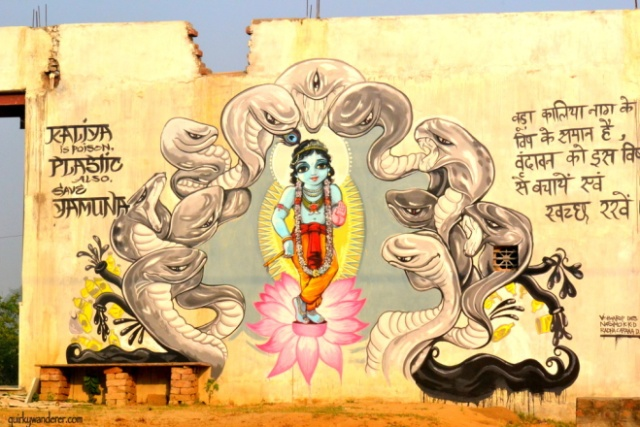 A graffiti on the walls of Vrindavan , urging people to protect Their Yamuna
