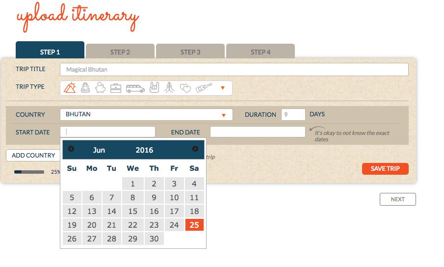 TL Upload itinerary